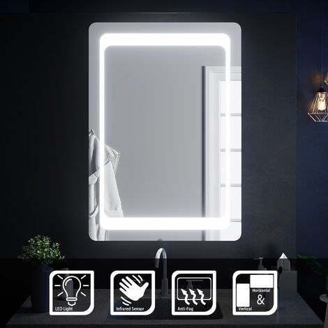 ELEGANT Illuminated LED Bathroom Mirror Light Sensor + Demister