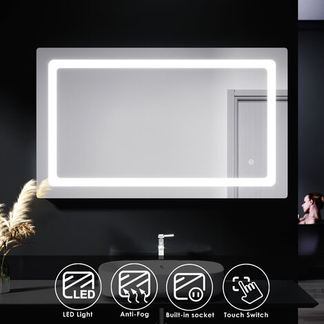 ELEGANT Illuminated LED Bathroom Mirror Lights Shaver Socket Wall Mounted Mirror with Touch Switch Demister Pad