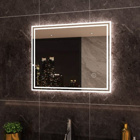 ELEGANT Illuminated LED Bathroom Mirror Lights Touch Sensor 600 x 500 mm Horizontal Vertical Mirror