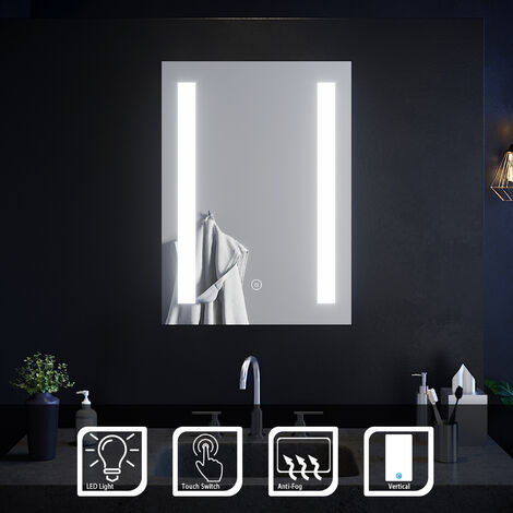ELEGANT Illuminated LED Bathroom Mirror Sensor Touch Mirror