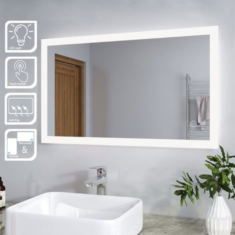 ELEGANT Illuminated LED Bathroom Mirror Wall Mirror Bathroom Mirrors with Light and Demister and Sensor 1000 x 600 mm