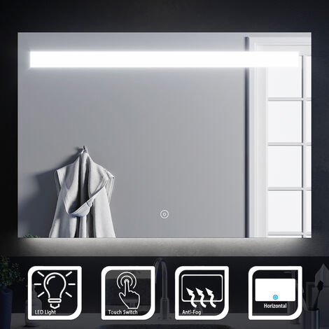 ELEGANT Illuminated LED Bathroom Mirror Wall Mounted Mirror 1000 x 700 mm Bathroom Mirror with Lights and Demister and Sensor/IP44 Rated