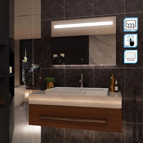 ELEGANT Illuminated LED Bathroom Mirror Wall Mounted Mirror 1000 x 700 mm Bathroom Mirrors with Lights and Demister and Sensor