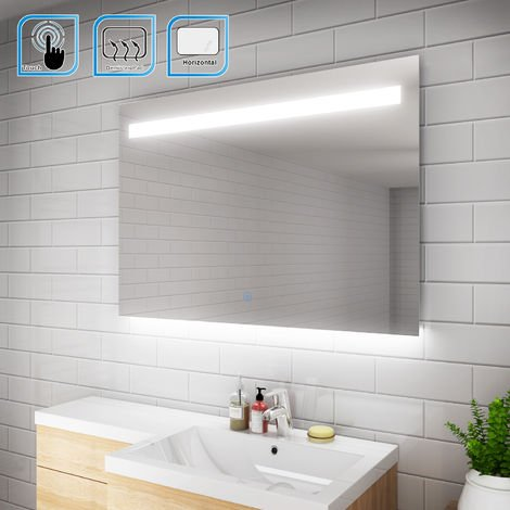 ELEGANT Illuminated LED Bathroom Mirror Wall Mounted Mirror 1000 x 700 mm Bathroom Mirrors with Lights and Demister and Sensor/IP44 Rated