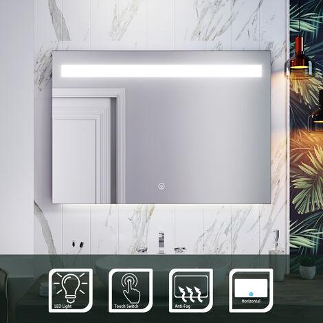ELEGANT Illuminated LED Bathroom Mirror Wall Mounted Mirror 1000 x 700 mm Bathroom Mirrors with Lights and Demister and Sensor/IP44 Rated