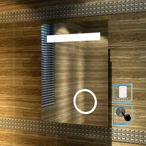 ELEGANT Illuminated LED Bathroom Mirror with Lights and Shaver Socket magnifying Mirror 500 x 700 mm Button Switch