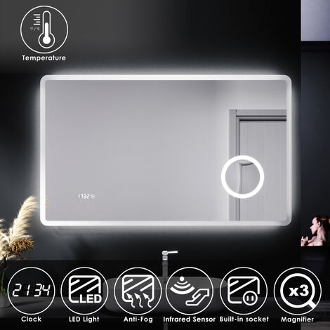 ELEGANT Illuminated LED Bathroom Mirror with Lights with Magnifying Mirror