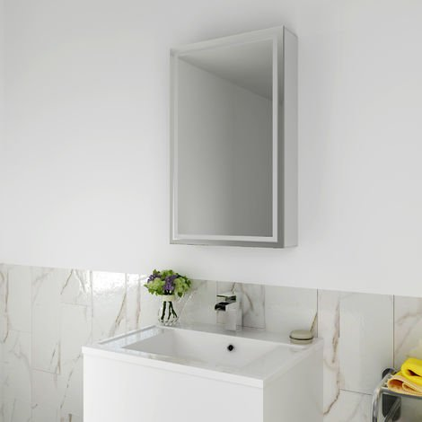 ELEGANT Illuminated LED Bathroom Sliding Mirror 430 x 690mm Cabinet Stainless Steel Frame Wall Storage Mirror with Lights with Sensor Switch