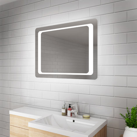 ELEGANT LED Bathroom Mirror 800 x 600 mm Illuminated Mirror Light Infrared Sensor + Demister