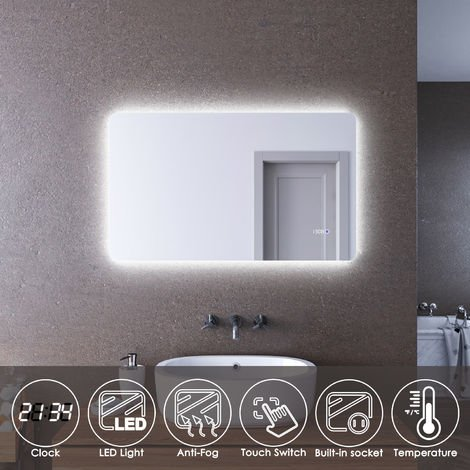 ELEGANT LED Illuminated Bathroom Mirror 1000 x 600mm with Clock Temperature Display Anti-foggy Led Mirror