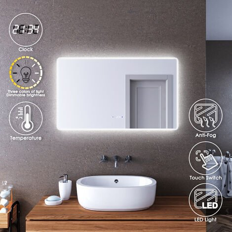 ELEGANT LED Illuminated Bathroom Mirror 1000 x 600mm with Clock Temperature Display Anti-foggy Led Mirror Three Color Mode