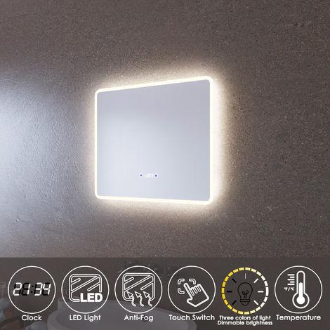 ELEGANT LED Illuminated Bathroom Mirror 600 x 500mm with Clock Temperature Display Anti-foggy Led Mirror Three Color Mode