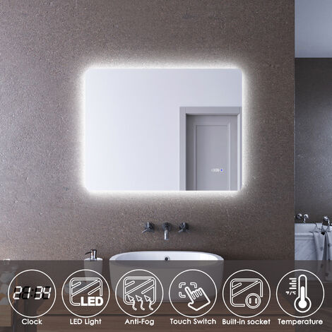 ELEGANT LED Illuminated Bathroom Mirror 900 x 700mm with Clock Temperature Display Anti-foggy Led Mirror