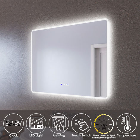 ELEGANT LED Illuminated Bathroom Mirror 900 x 700mm with Clock Temperature Display Anti-foggy Led Mirror Three Color Mode
