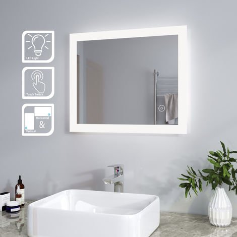 ELEGANT LED Illuminated Bathroom Mirror Light Touch Sensor Horizontal Vertical 600 x 500 mm