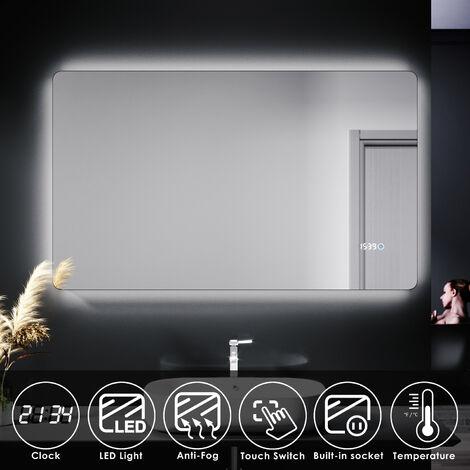 "main image of ""ELEGANT LED Illuminated Bathroom Mirror with Clock Temperature Display Anti-foggy Led Mirror"""