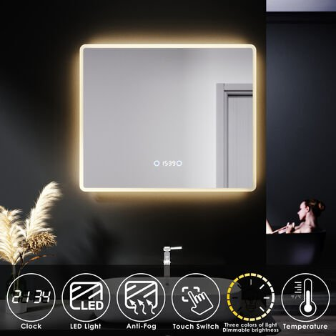 "main image of ""ELEGANT LED Illuminated Bathroom Mirror with Clock Temperature Display Anti-foggy Led Mirror Three Color Mode"""