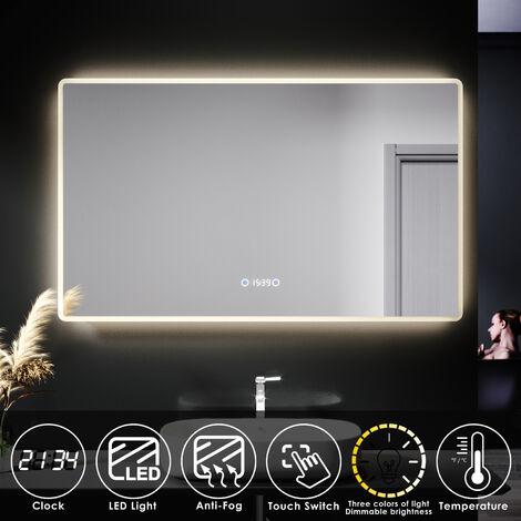 ELEGANT LED Illuminated Bathroom Mirror with Clock Temperature Display Anti-foggy Led Mirror Three Color Mode