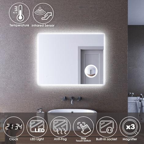 ELEGANT LED Illuminated Bathroom Mirror with Infrared Sensor 900 x 700mm with 3 Times Magnifying Glass Shaving Socket Clock Display Anti-foggy Led Mirror