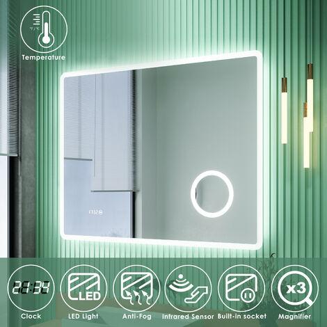 ELEGANT LED Illuminated Bathroom Mirror with Infrared Sensor with 3 Times Magnifying Glass Shaving Socket Clock Display Anti-foggy Led Mirror