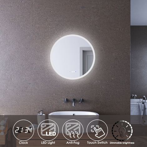 ELEGANT LED Illuminated Bathroom Mirror with Light 600 x 600mm Clock Display Mirror