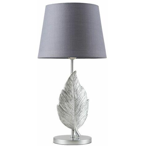 Elegant LED Table Lamp Feather Gold Finish Shades - Grey LED