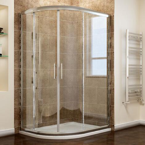 ELEGANT Left Quadrant Shower Enclosure 6mm Sliding Glass Cubicle Door with Tray + Waste, 1200 x 800 mm