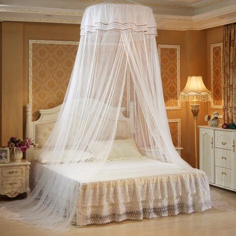 élégant lit de dentelle auvent plafonnier moustiquaire dome suspendu dentelle insecte net cryptage rehaussant plafond princesse dome court adapté pour: lit de 1,2-1,8 m blanc blanc Type A
