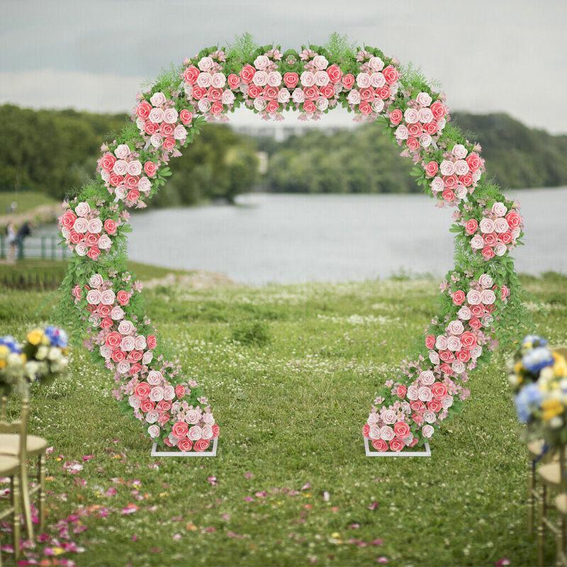 Image of Elegant Metal Wedding Arch Frame Backdrop Hexagonal Stand Flowers Balloons Rack, 2.4M