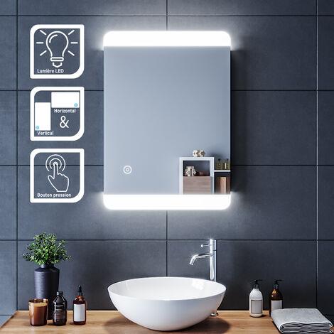 miroir simple de salle de bain 70x50 80x50 cm antibrouillard miroir moderne avec lumiere led