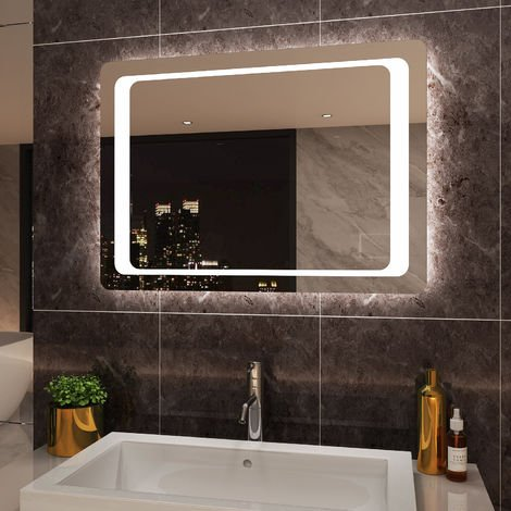 ELEGANT Mirror 900 x 600mm Frontlit LED Illuminated Bathroom Mirror with Light Sensor + Demister