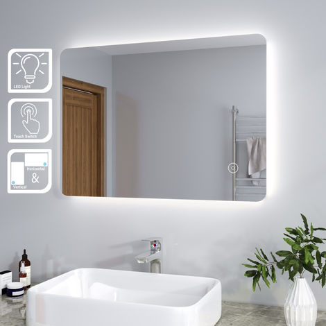 ELEGANT Modern Backlit 700 x 500 mm Illuminated LED Bathroom Mirror Light with Touch Sensor Vertical Horizontal
