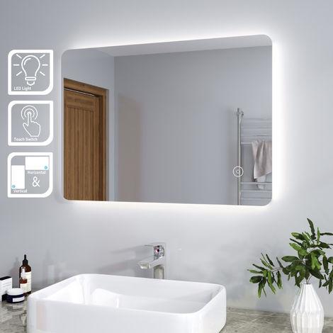 "main image of ""ELEGANT Modern Backlit 700 x 500 mm Illuminated LED Bathroom Mirror Light with Touch Sensor Vertical Horizontal"""
