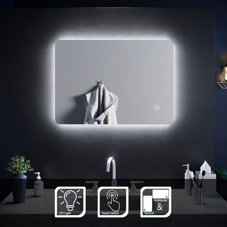 "main image of ""ELEGANT Modern Backlit Illuminated LED Bathroom Mirror Light with Touch Sensor Vertical Horizontal 700 x 500 mm"""