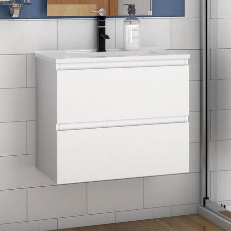 Elegant Modern Bathroom Wall Hung Vanity Unit with Sink 1 Tap Hole,2 Drawers Soft Closing Matte White Bathroom Furniture
