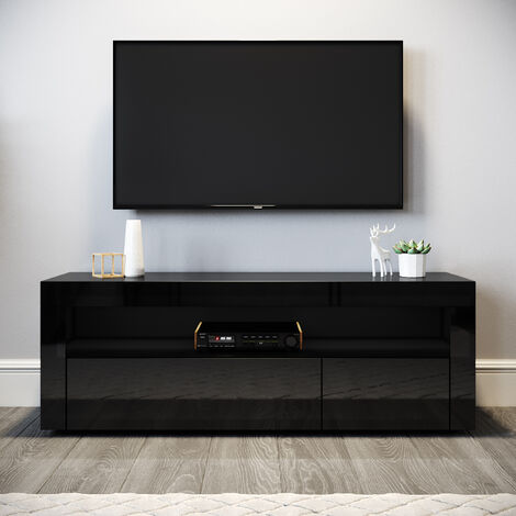 ELEGANT Modern Gloss TV Unit Stand 1200mm with LED Ambient Light for Living Room and Bedroom with Storage Furniture for 32 40 43 50 52 inch 4k TV, Black
