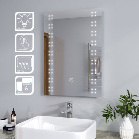 ELEGANT Modern Heated LED Illuminated 500 x 700mm Vertical Rectangle Bathroom Mirror Lights Touch Control Switch with Demister Pad
