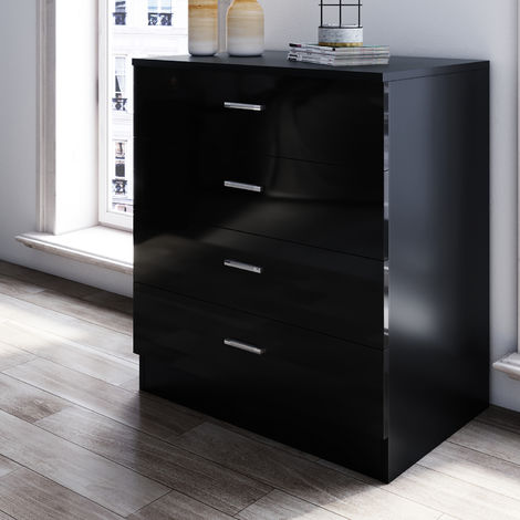 ELEGANT Modern High Gloss 4 spacious Drawer Chest with Metal Handles for Bedroom Black