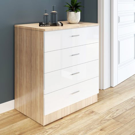 ELEGANT Modern High Gloss 4 spacious Drawer Chest with Metal Handles for Bedroom or Home Storage Organizer