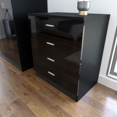 ELEGANT Modern High Gloss 4 spacious Drawer Chest with Metal Handles for Bedroom or Home Storage Organizer, Black