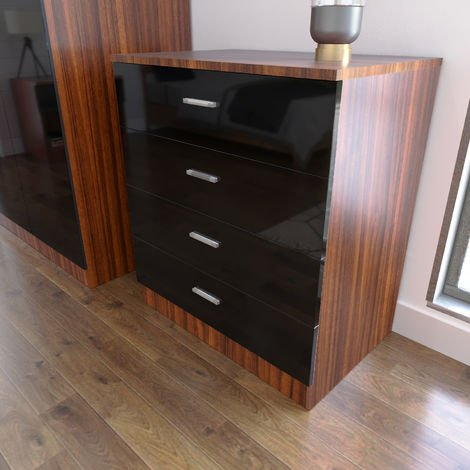 ELEGANT Modern High Gloss 4 spacious Drawer Chest with Metal Handles for Bedroom or Home Storage Organizer, Black/Walnut