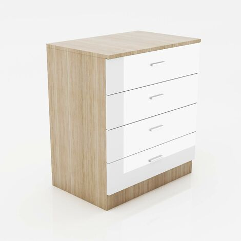 ELEGANT Modern High Gloss 4 spacious Drawer Chest with Metal Handles for Bedroom or Home Storage Organizer, White/Oak