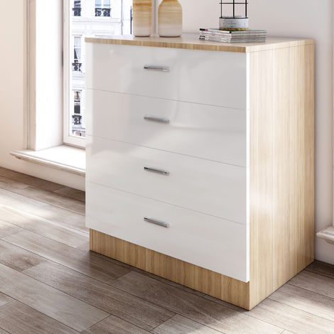 ELEGANT Modern High Gloss 4 spacious Drawer Chest with Metal Handles for Bedroom White/Oak