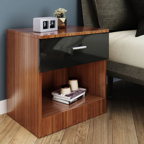 ELEGANT Modern High Gloss Bedside Cabinet Night Stand Storage Shelf with Bin Drawer