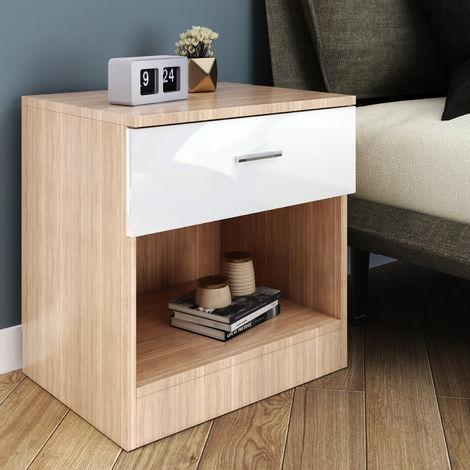 ELEGANT Modern High Gloss Bedside Cabinet Night Stand Storage Shelf with Bin Drawer