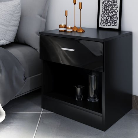 ELEGANT Modern High Gloss Bedside Cabinet Night Stand Storage Shelf with Bin Drawer, Black