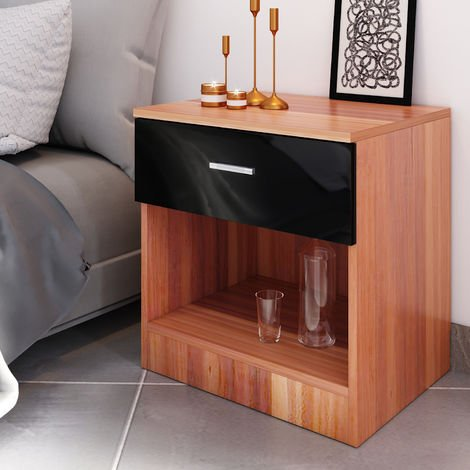 ELEGANT Modern High Gloss Bedside Cabinet Night Stand Storage Shelf with Bin Drawer Black/Walnut
