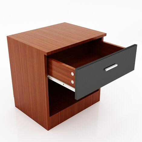 ELEGANT Modern High Gloss Bedside Cabinet Night Stand Storage Shelf with Bin Drawer, for Bedroom or Home Storage Organizer, Black/Walnut