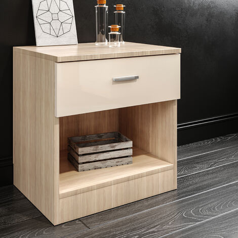 ELEGANT Modern High Gloss Bedside Cabinet Night Stand Storage Shelf with Bin Drawer, for Bedroom or Home Storage Organizer, CREAM/OAK