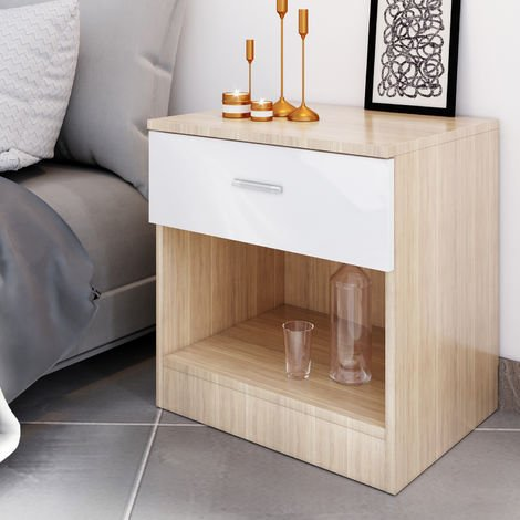 ELEGANT Modern High Gloss Bedside Cabinet Night Stand Storage Shelf with Bin Drawer, White/Oak, for Bedroom or Home Storage Organizer